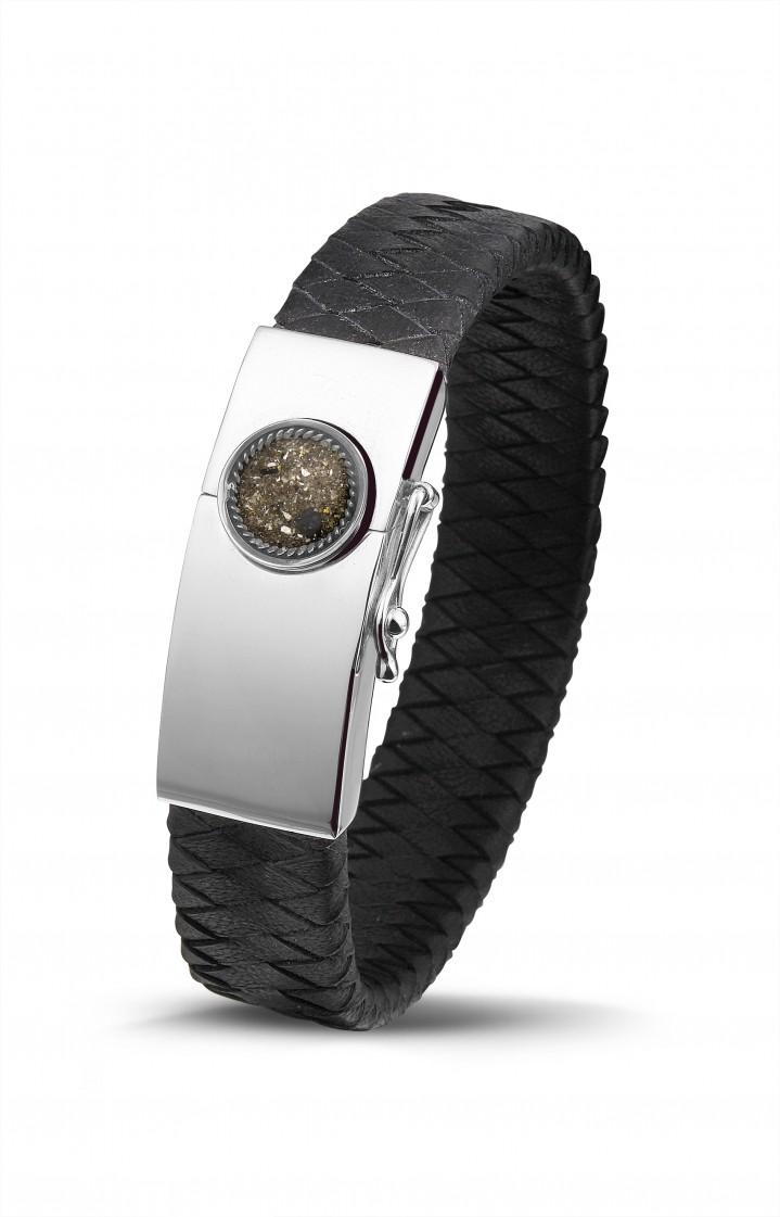 Zilver/lederen armband gevuld met as