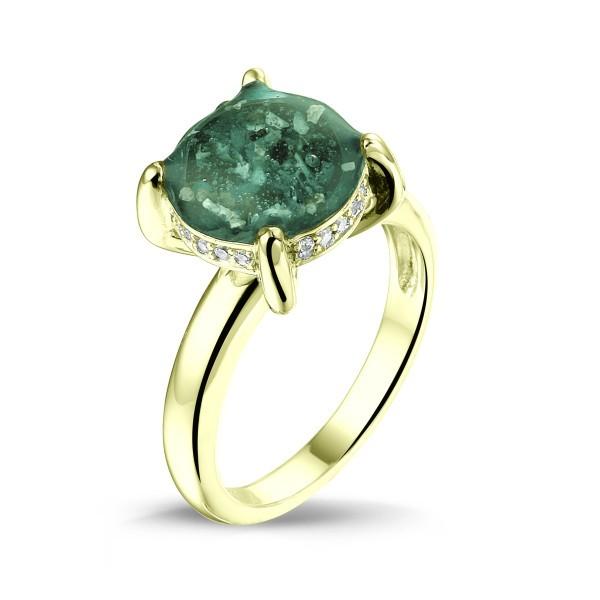 14 krt geel gouden ring met diamant.