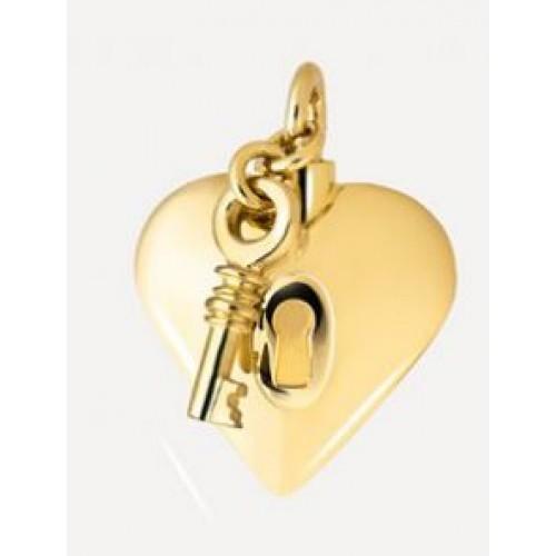 Hartje met slot en sleutel in goud (14 karaat).