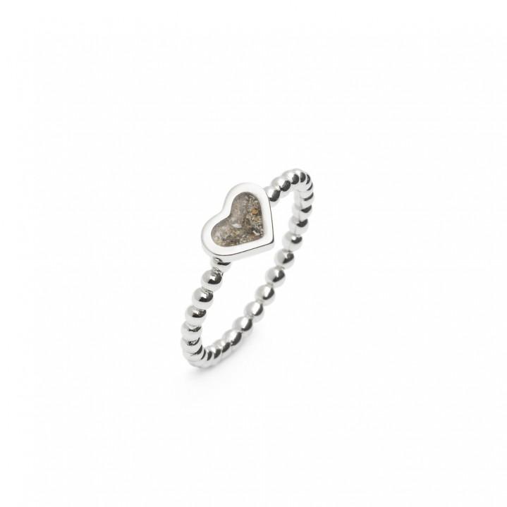 Zilveren ring, hart