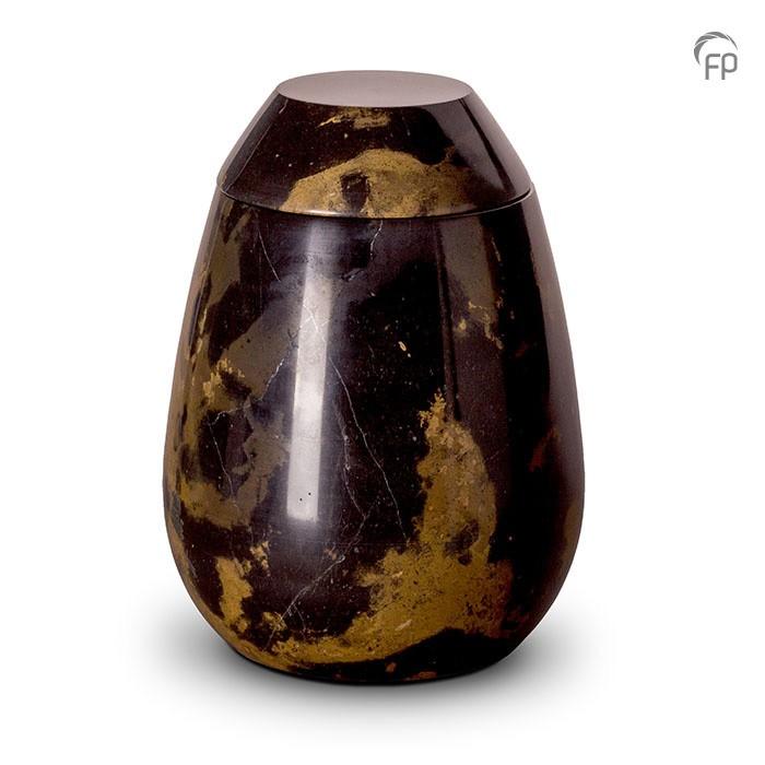Zwart met bruin marmeren urn