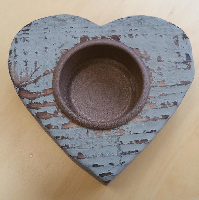Kaarsenhouder hart drijfhout wax