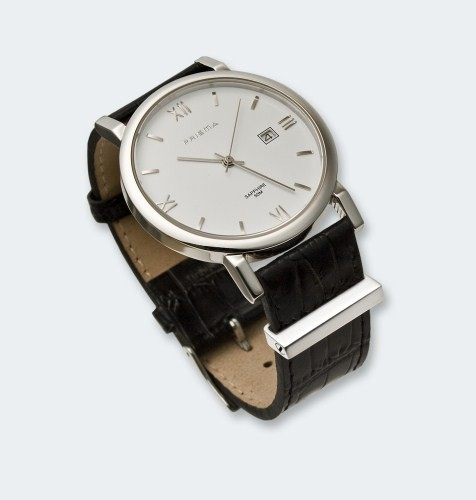 Zilveren horlogeclip met asruimte