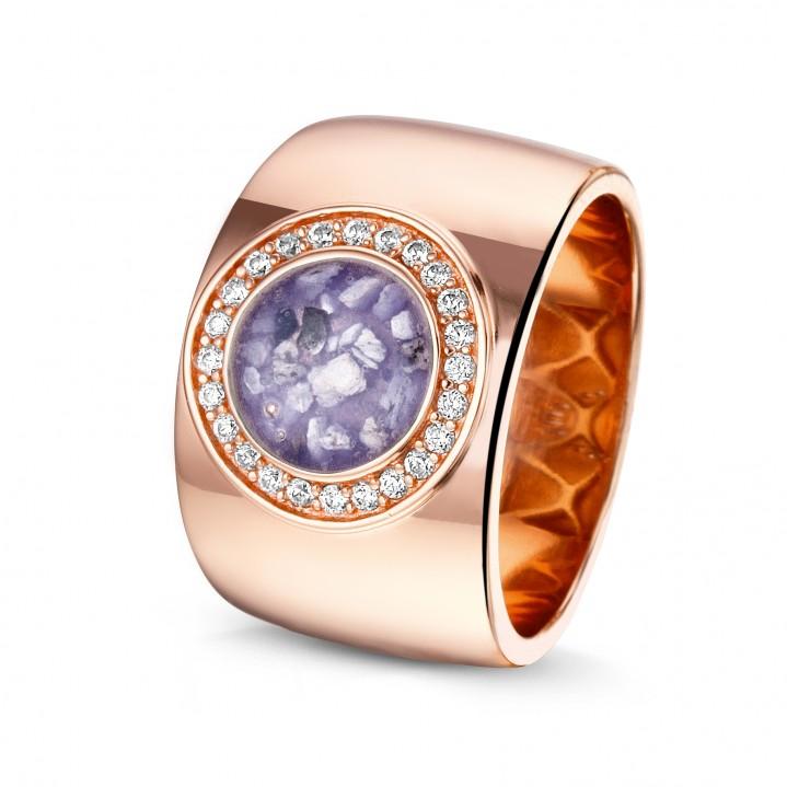 14 krt rose gouden ring met diamand.