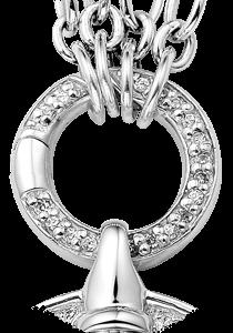 Zilveren clip met zirkonia stenen