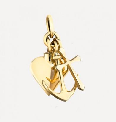 Gouden mini-medaillon: Geloof, hoop en liefde inclusief 42 cm collier.