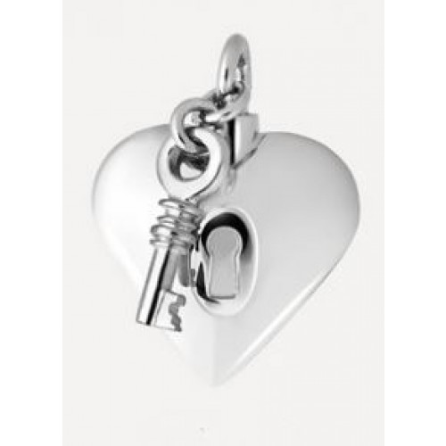 Hartje met slot en sleutel in zilver.