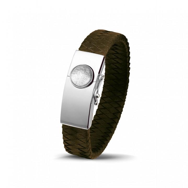 Zilver/lederen armband met vingerafdruk.