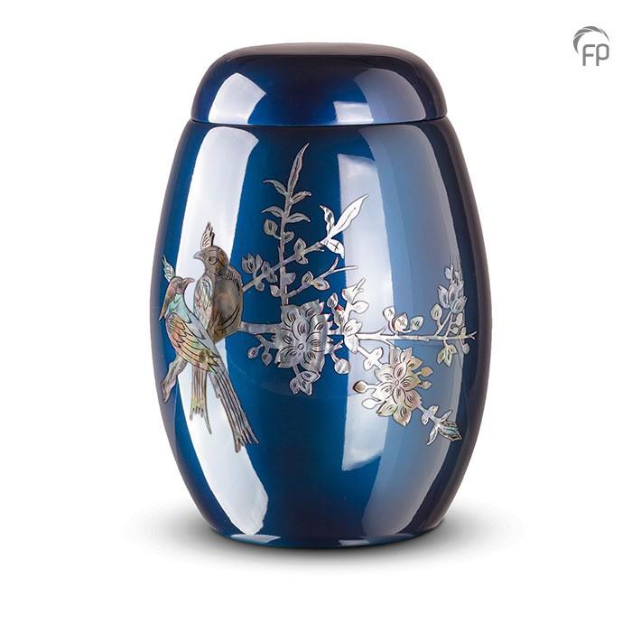 Donkerblauwe urn met vogels van parelmoer