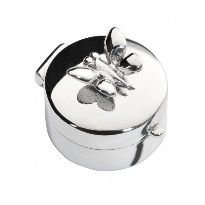 Zilveren mini urn, vlinder