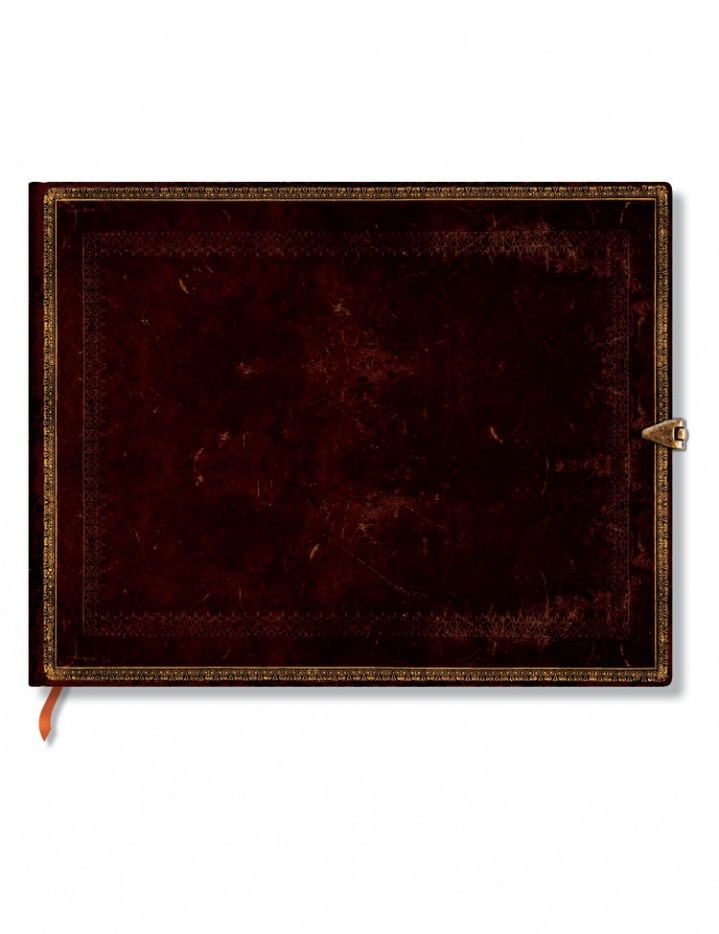 Condoleanceboek Old Leather Black Moroccan