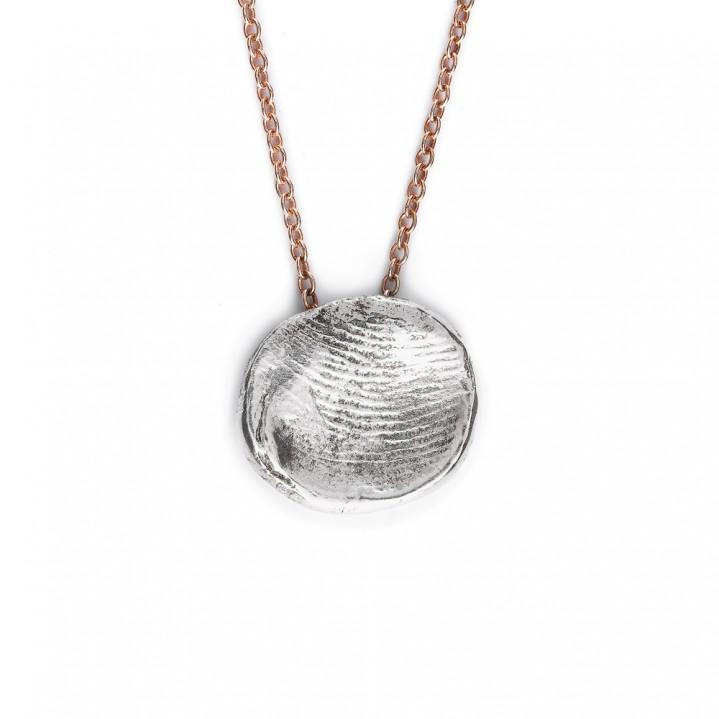 Rose gouden collier met zilveren vingerafdruk
