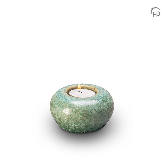 Groene mini-urn met kristal lak, kaarshouder
