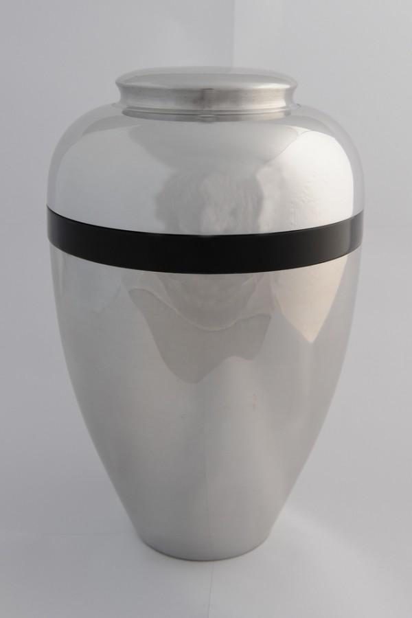 Aluminium urn met zwarte ring