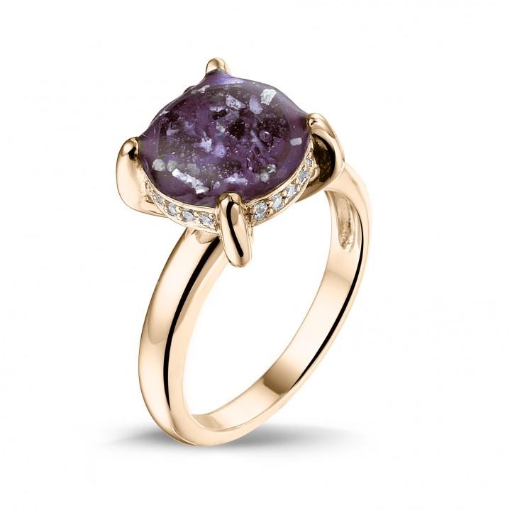 14 krt rose gouden ring met diamant.