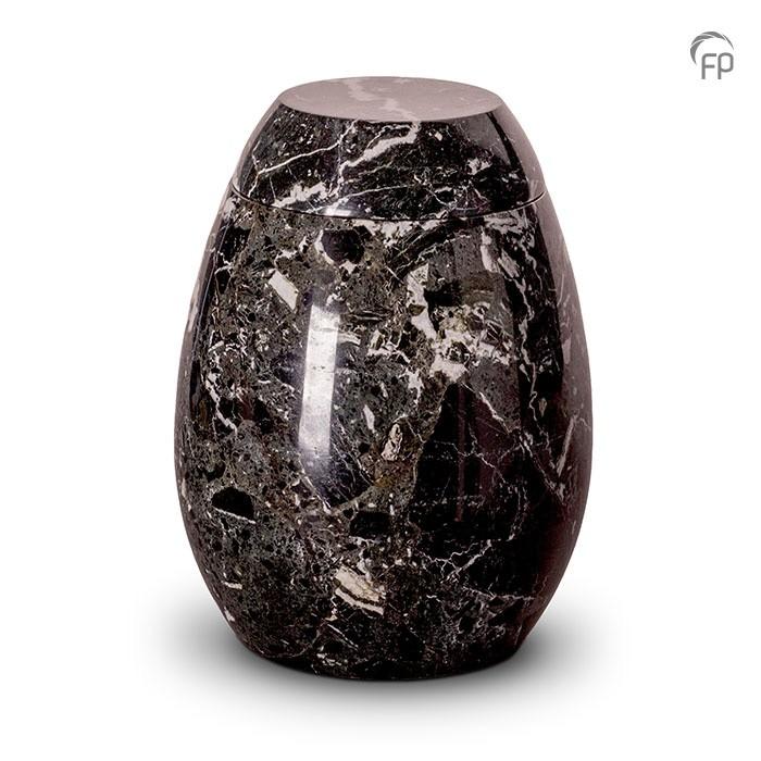 Zwart met wit marmeren urn