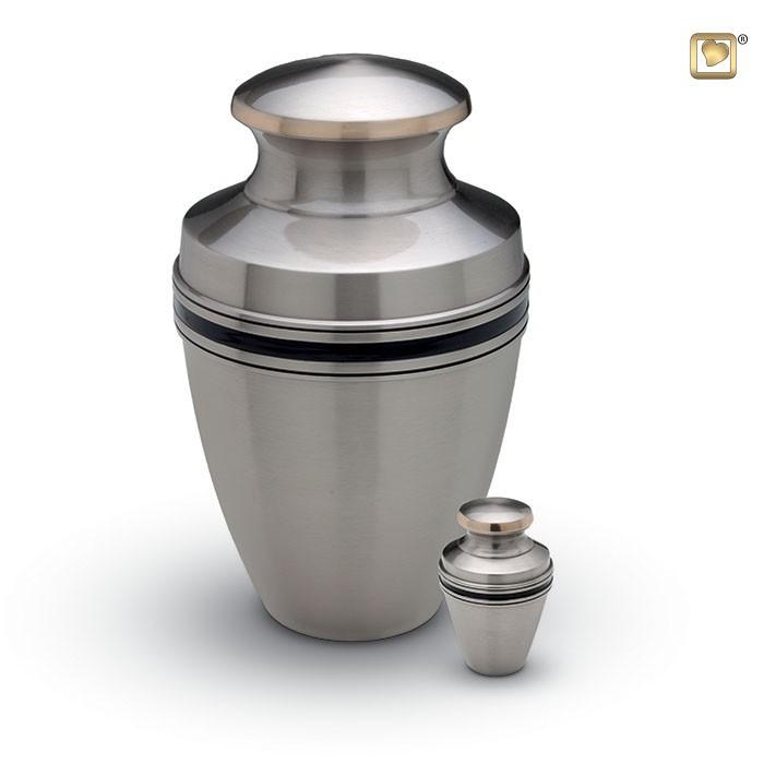 Matte zilverkleurige urn