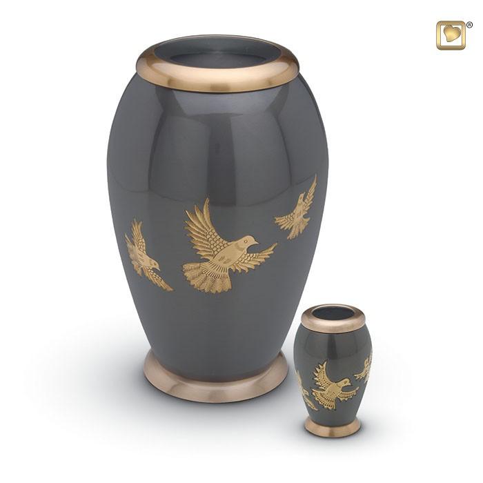 Antraciet grijze urn met vogels