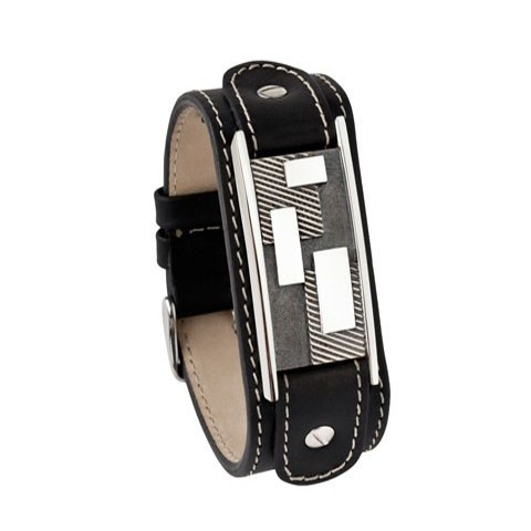 Zwart kalfslederen armband met asruimte