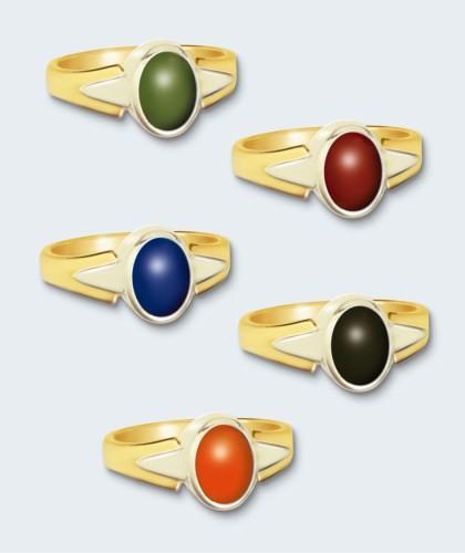 Damesring in bi-goud inclusief steen (ovaal).
