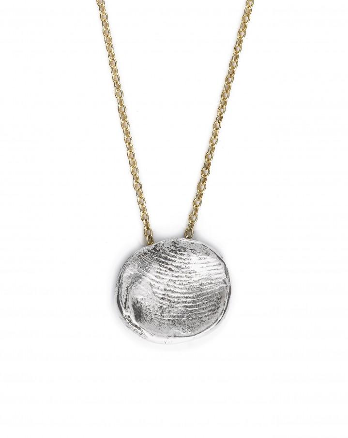 Geel gouden collieren met zilveren vingerafdruk