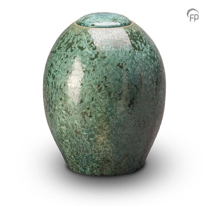 Groene urn met kristal lak