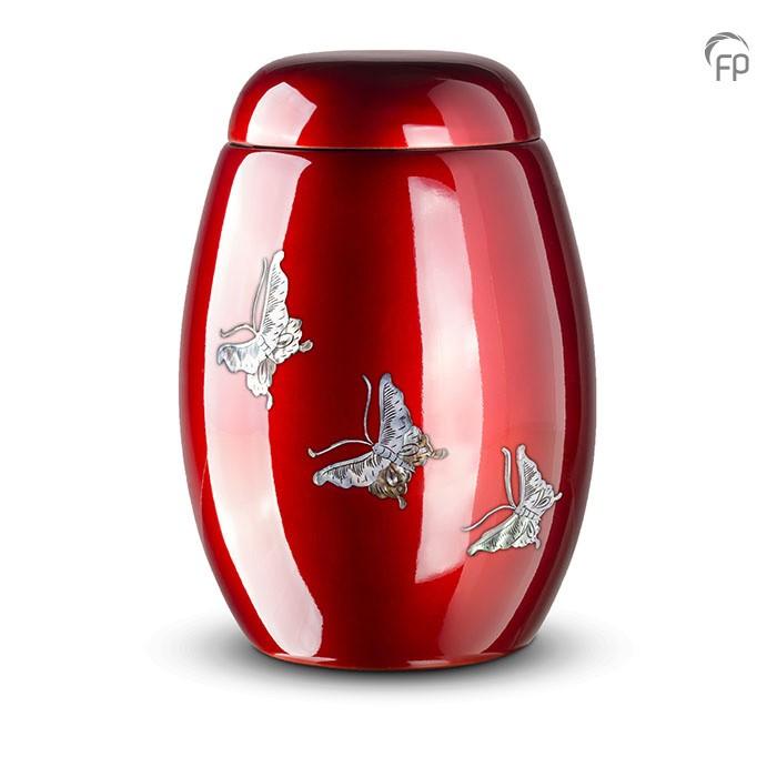 Rode urn met vlinders van parelmoer