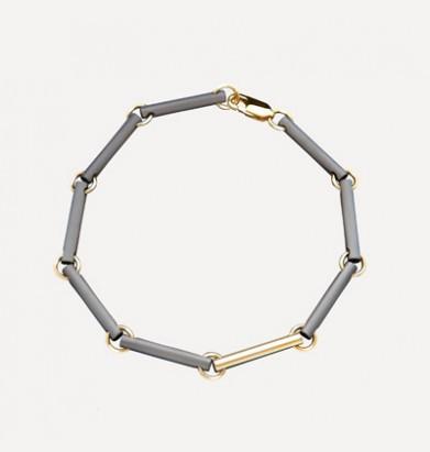 Armband in titanium en goud met asruimte