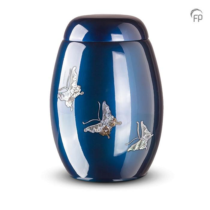 Donkerblauwe urn met vlinders van parelmoer